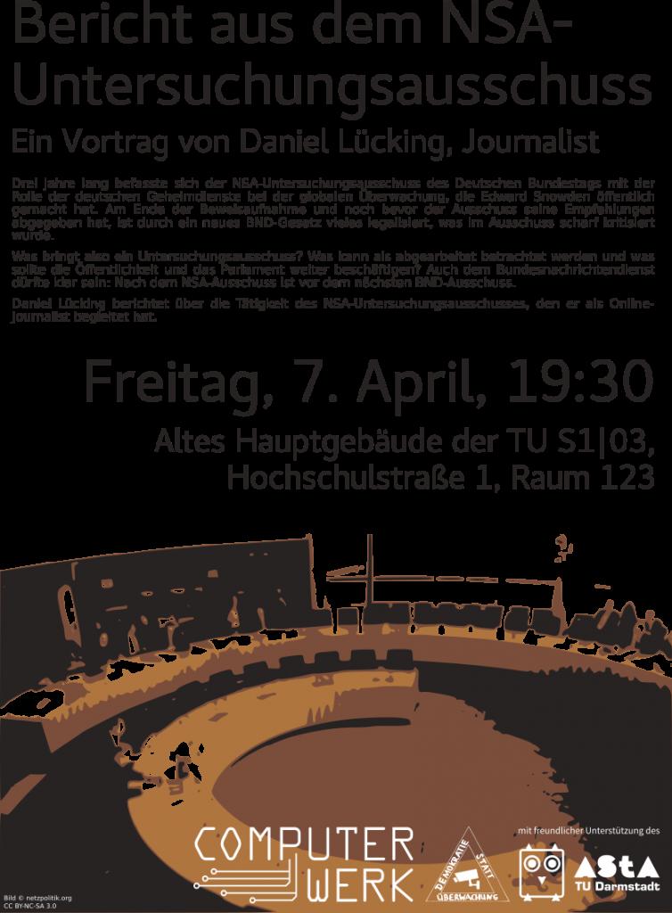Werbeplakat für den Vortrag zum NSA-Untersuchungsausschuss